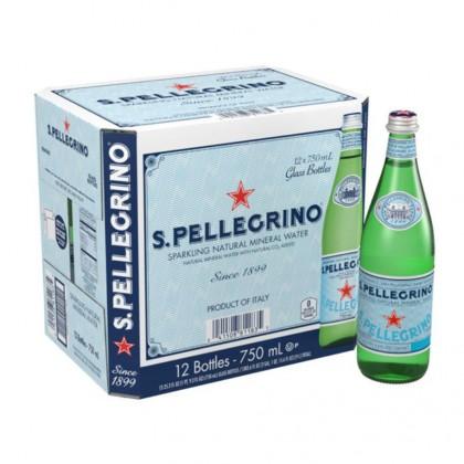 San Pellegrino Sparkling Natural Mineral Water Glass Bottle 12x750ml